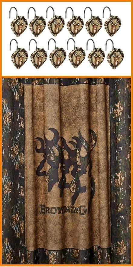 "Browning Whitetails Fabric Shower Curtain 72/"" x 72/"" Buckmark Camo Deer Wildlife"