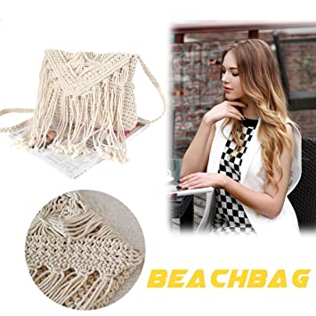 Strandtasche Handmade Damen Knitting Häkeln Schnur Crossbody Tasche