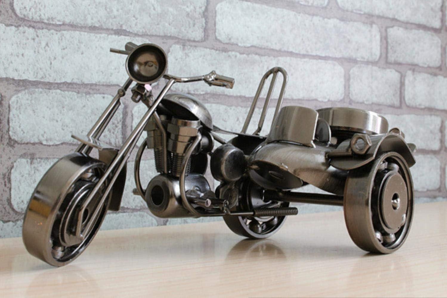 THREE Herrajes Antiguos Triciclo Lateral Modelo de Motocicleta Personalidad nostálgica Escritorio en casa Sala de Estar Decoración Fiesta Regalos empresariales, Negro