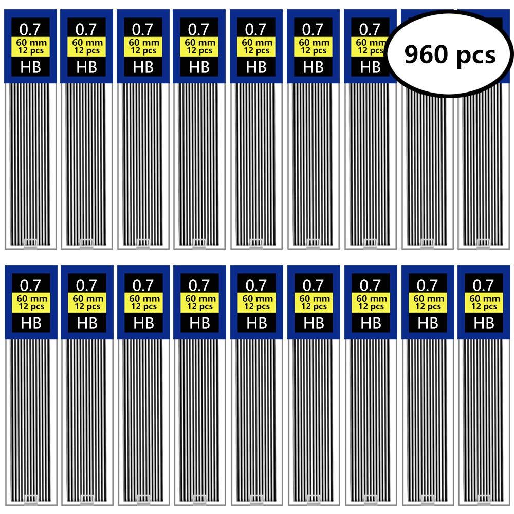 EnewLife 960 Pieces Lead Refills 0.7 mm HB Break Resistant Mechanical Pencil Refills, 12 Pack Per Tube, 80 Tubes(0.7 mm) by EnewLife