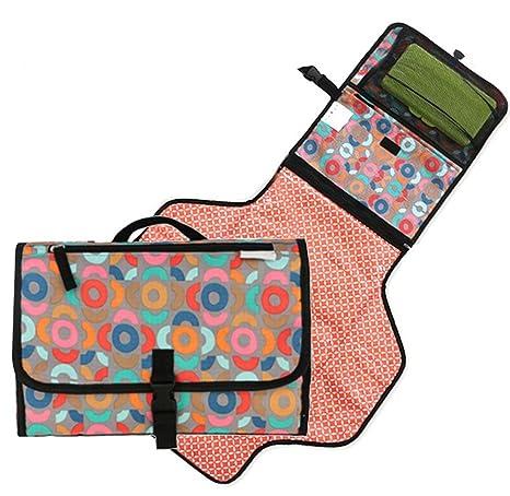 Alfombra para cambiar pañales de viaje para bebés, alfombrilla portátil para pañales, fácil de