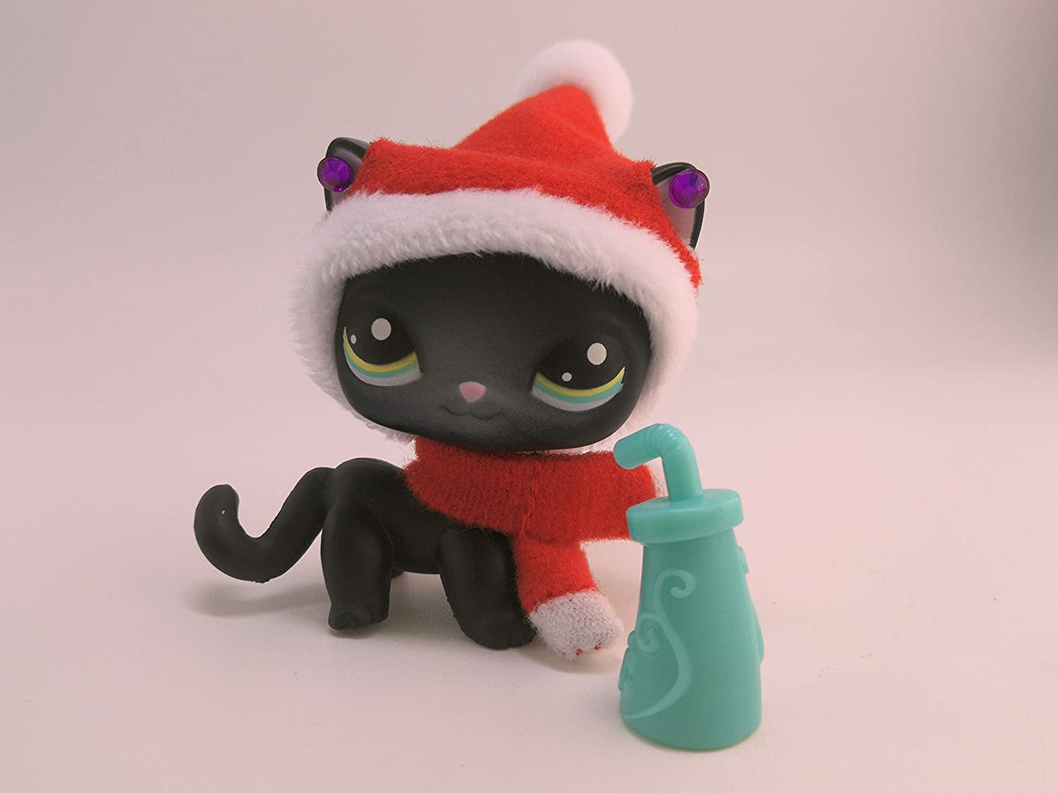 Toy Rare LPS Shorthair Cat 994 Black Kittey Kitten with Accessories Christmas Hat Scraf Collection Figure Girls Boys