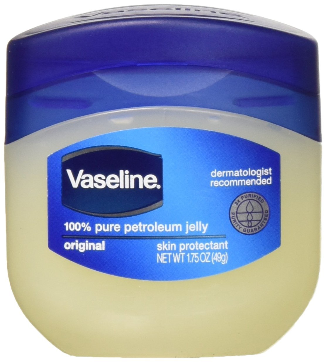 Vaseline 100% Pure Petroleum Jelly Original Skin Protectant, 1.75 OZ Travel Size (Pack of 3)