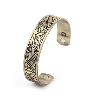 46fa17a8ec76 Pulsera magnética con motivos paganos vikingos y celtas en bronce antiguo   Amazon.es  Joyería