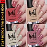 MI Fashion Professional Nude Series Super Shine 4 Nail Paint Combo 12ml each (Summer Tan, Skin Nude, Light Nude, Nude Spring)