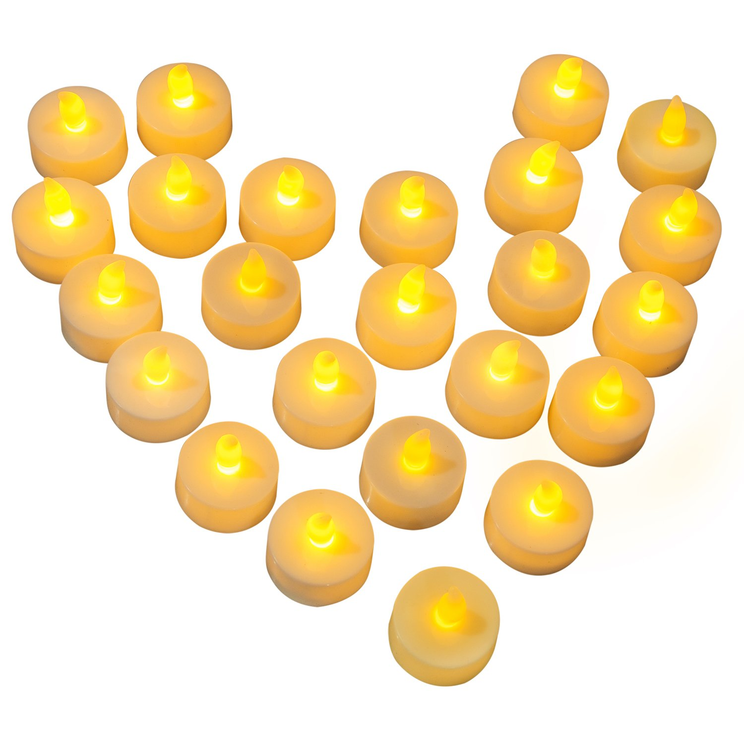Diyife Flameless LED Tea Lights, [24pcs Battery Operated] Flickering LED Candles, Realistic Electric Fake Candle in Warm Yellow - Perfect for Valentines Day, Halloween, Christmas, Birthday Decoration HLT2--Parent2