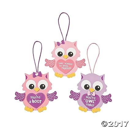 Amazon Com Foam Valentine Owl Ornament Craft Kit 1 Dozen Arts