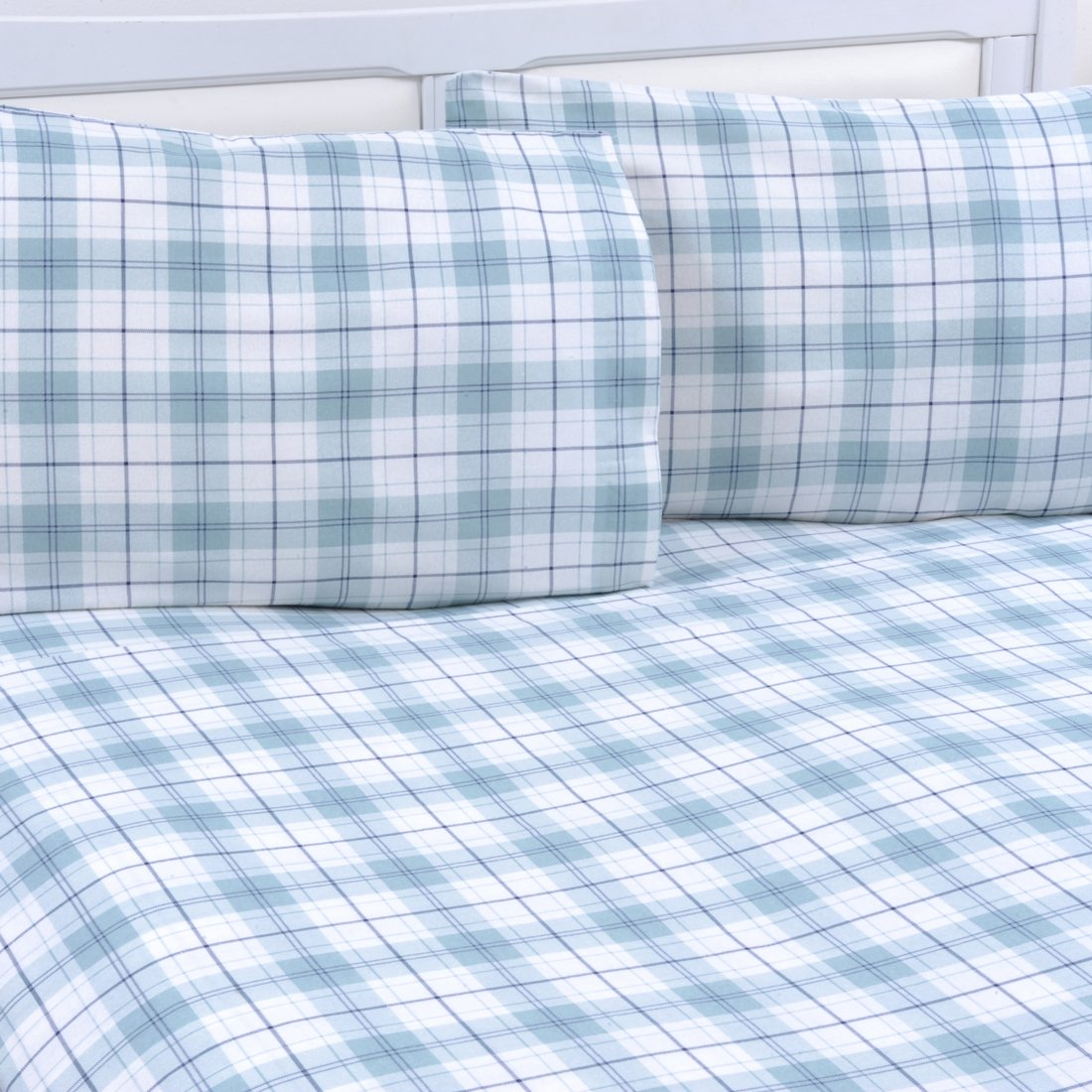 Mellanni 100% Cotton 3 Piece Printed Flannel Sheets Set - Deep Pocket - Warm - Super Soft - Breathable Bedding Plaid Blue