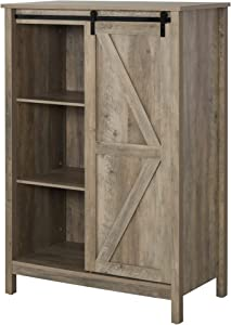 HOMCOM Rustic Storage Cabinet Home 3-Tier Organizer with Barn Door, Adjustable Shelf Freestanding Furniture, Antique Brown