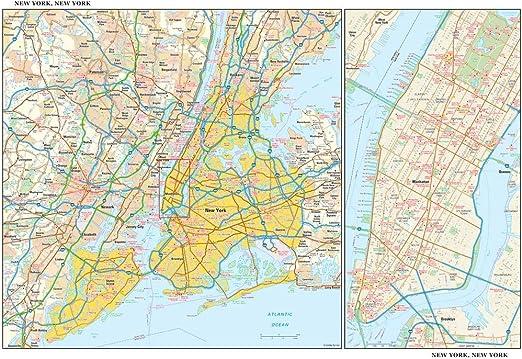 Mapa de pared de Nueva York, 55 x 36 cm, papel: Amazon.es: Oficina y papelería