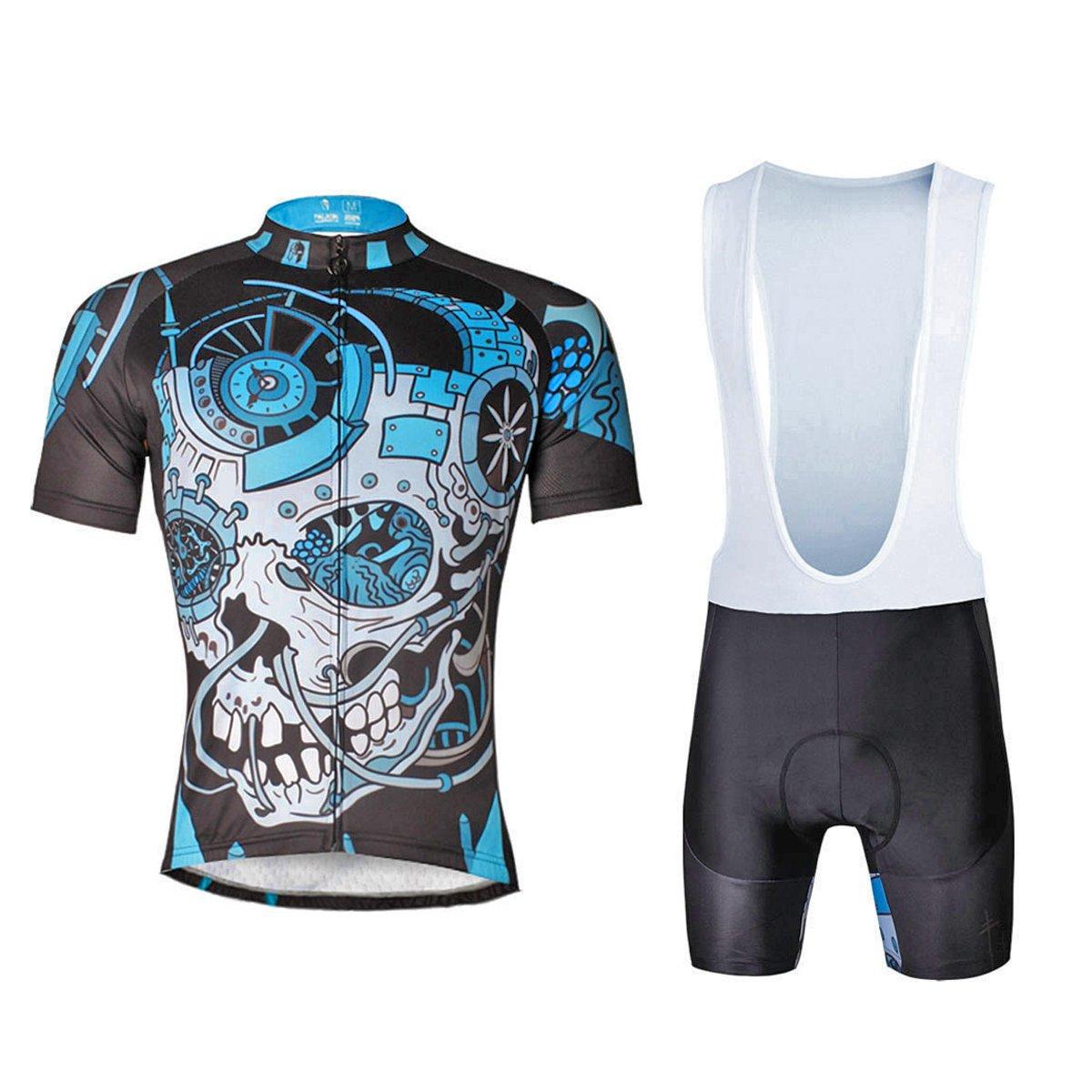 Ilpaladino Men's Black Cycling Shirts Mechanical Skeleton Pattern Bike Jerseys Tight Design