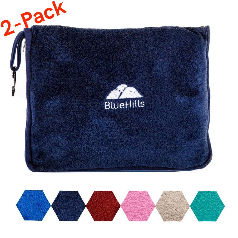 BlueHills 2-Pack Premium Soft Travel Blanket Pillow Airplane Blanket for Two in Soft Bag Pillowcase with Hand Luggage Belt and Backpack Clip, Compact Pack Large Blankets for Travel (Navy Blue T011)