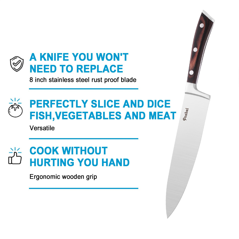 Chef Knife, Poshei 8 inch Multi-purpose High Carbon Stainless Steel Kitchen Knife with Razor Sharp Blade and Balanced Ergonomic Pakka Wood Handle with Gift Box by poshei (Image #5)