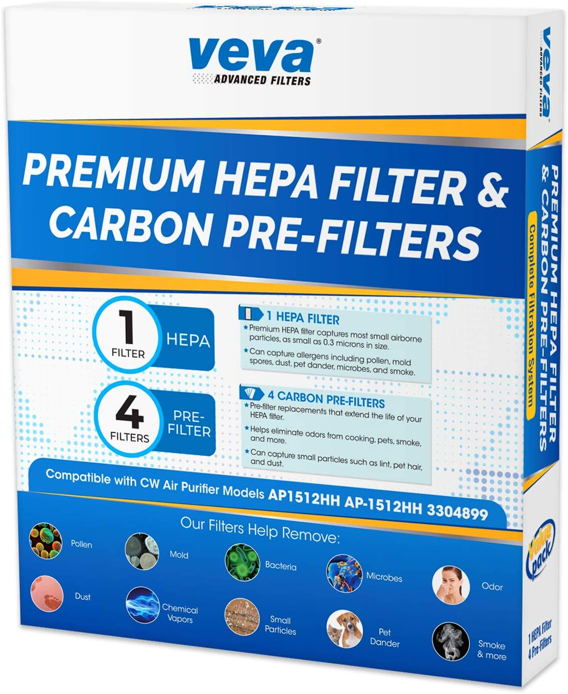 VEVA 1 Premium HEPA Filter Including 4 Carbon Pre Filters Compatible with AP-1512HH 3304899 CW Air Purifier Advanced Filters