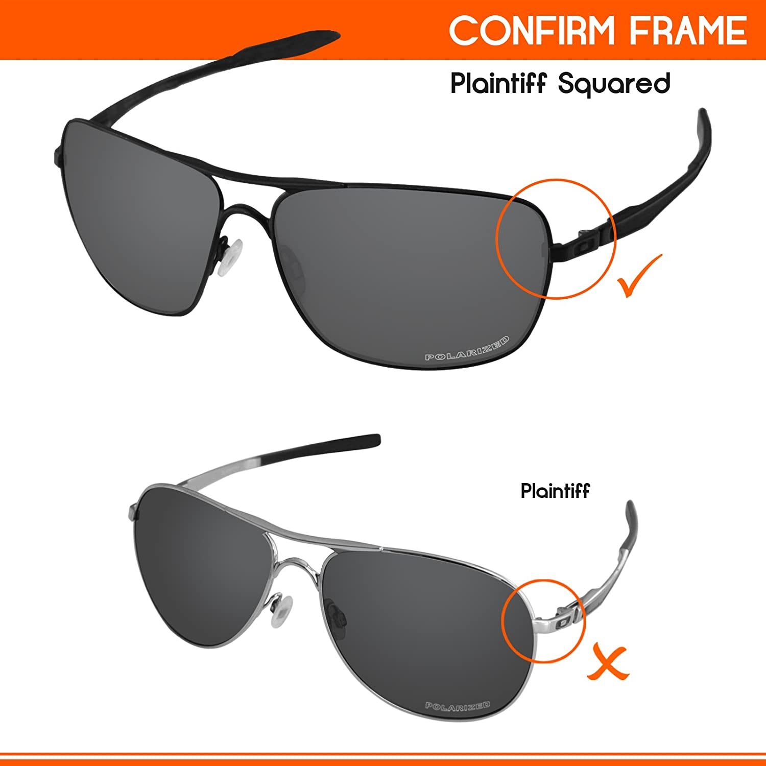 8512ced445 Amazon.com  Tintart Performance Lenses Compatible with Oakley Plaintiff  Squared Polarized Etched-Carbon Black  Clothing