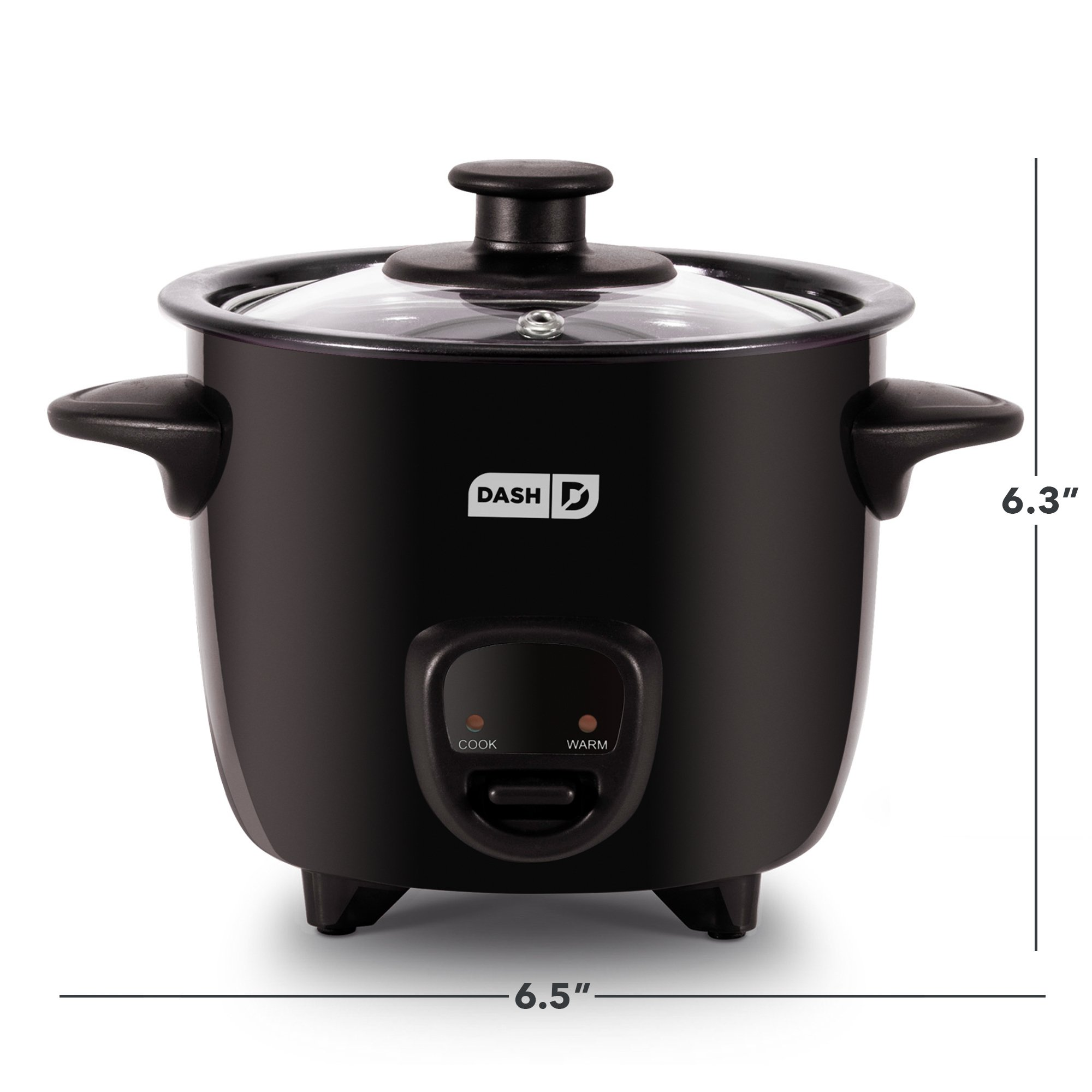 Dash DRCM200BK Mini Rice Cooker Steamer with Removable Nonstick Pot, Keep Warm Function and Recipe Guide -, 2 Cups, Great for Soups, Stews, Grains and Oatmeal -, Black by Dash (Image #5)