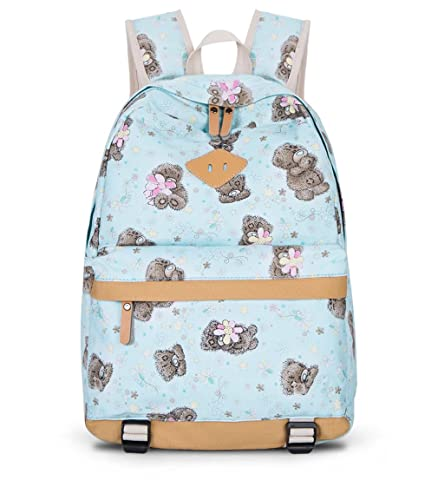 14de797b2afa Image Unavailable. Image not available for. Color  Female School Bags for  Girl Nylon Floral Print Bear Waterproof Backpack Light Blue