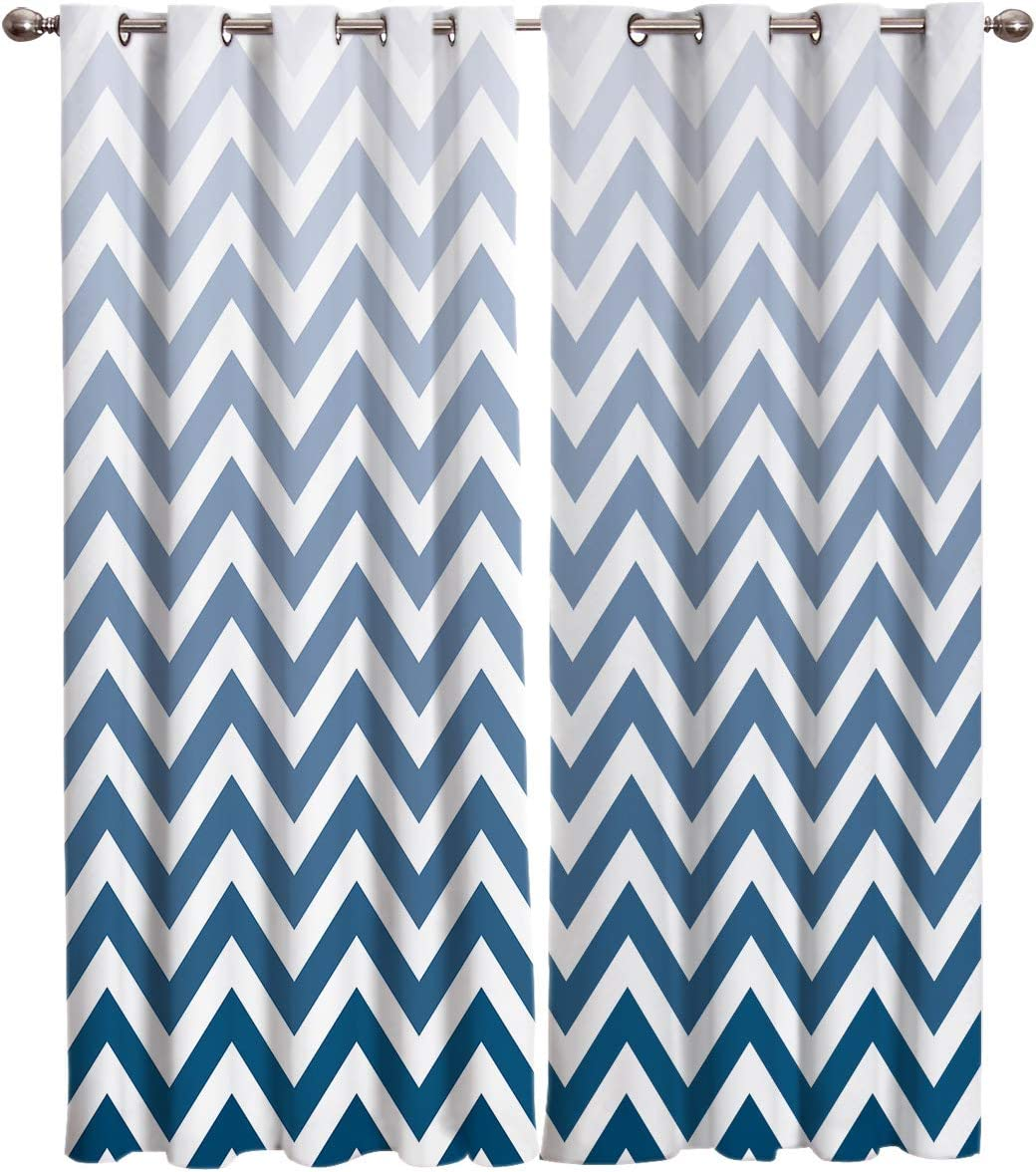 Amazon Com Blackout Curtains Geometric Ombre Chevron Blue Stripe Room Darkening Thermal Insulated Drapes Window Treatments Window Curtain For Bedroom Living Room Set Of 2 Curtain Panels 52x72inch Home Kitchen