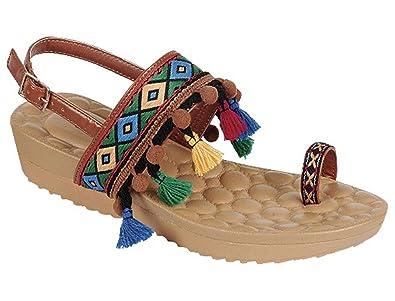 e73229609 Tan Brown Faux Leather Boho Fringe Sling Back Sandal Open Heel Gladiator  Ethnic Hippie Wide Band