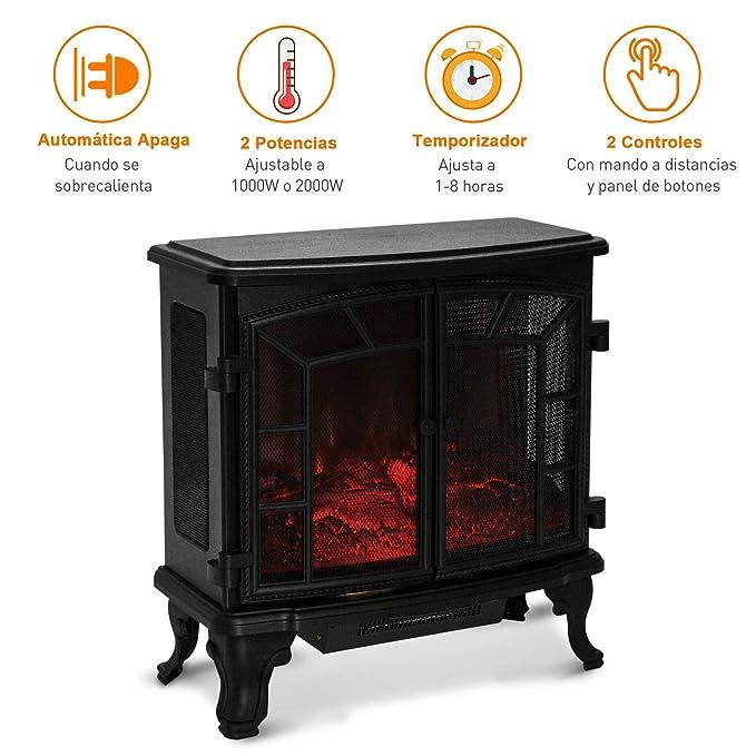 HOMCOM Chimenea Eléctrica Móvil Estufa de Pie Calefactor Efecto de Leña Ardiendo con Mando a Distancia Temporizador 1000W/2000W 63.5x30.5x67.5cm: Amazon.es: ...