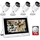 """YESKAMO Wireless CCTV Home Security Camera Systems with 12"""" LCD HD Monitor 4pcs 1080P Wifi IP Cameras 2.0 Megapixel Outdoor Video Monitoring Surveillance Kits Pre-installed 2TB HDD for Recording"""