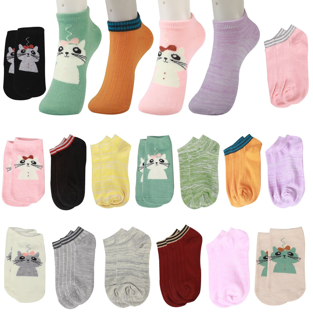 one size 15 pairs 15 Pairs Pure Color Cat Funny Novelty Cotton Low Cut No Show Ankle Socks girls