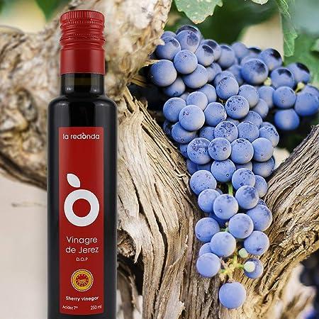 La Redonda - Vinagre de Vino Jerez D.O.P – Calidad Gourmet - Envejecido en Barrica según al método Tradicional – 250ml – Botella Cristal