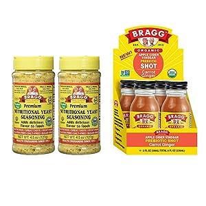 Bragg Nutritional Yeast Seasoning 4.5 Oz Pack of 2 and Bragg Organic Apple Cider Vinegar Shot with Carrot Ginger 2 Oz ACV Shot Pack of 4 Bundle