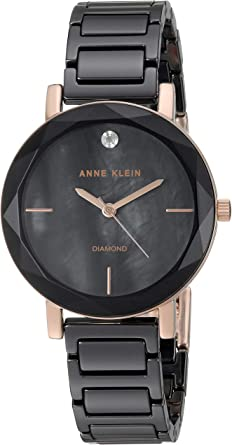 Anne Klein Women's Diamond-Accented Ceramic Bracelet Watch with Faceted Lens