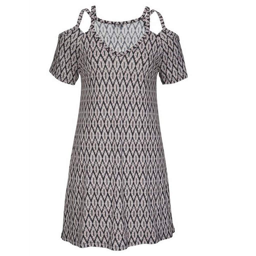 Women's Sexy Cold Shoulder Short Sleeve Midi Dress Geometric Pattern Boho Style Loose Sundress Vintage Sling Dresses (XXL) by Cealu (Image #5)