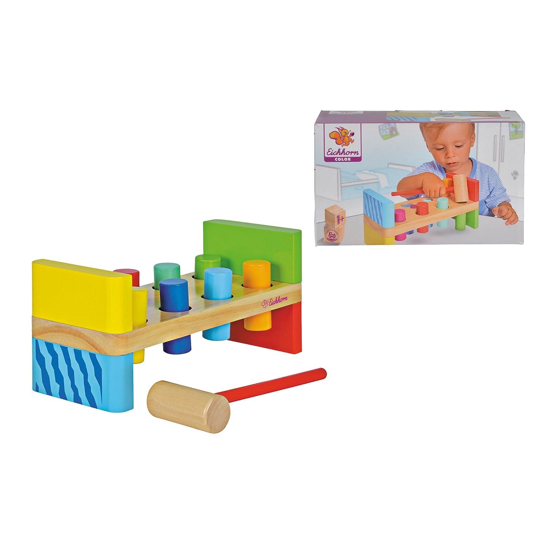 Eichhorn 100002221 - Bunte Klopfbank, enthält: Hammer, 8x Klopfstifte, 10x23,5x11cm, 10-tlg., Kiefernholz, Birkenholz enthält: Hammer SIMF5 195026 Für Babys ab 12 Monaten