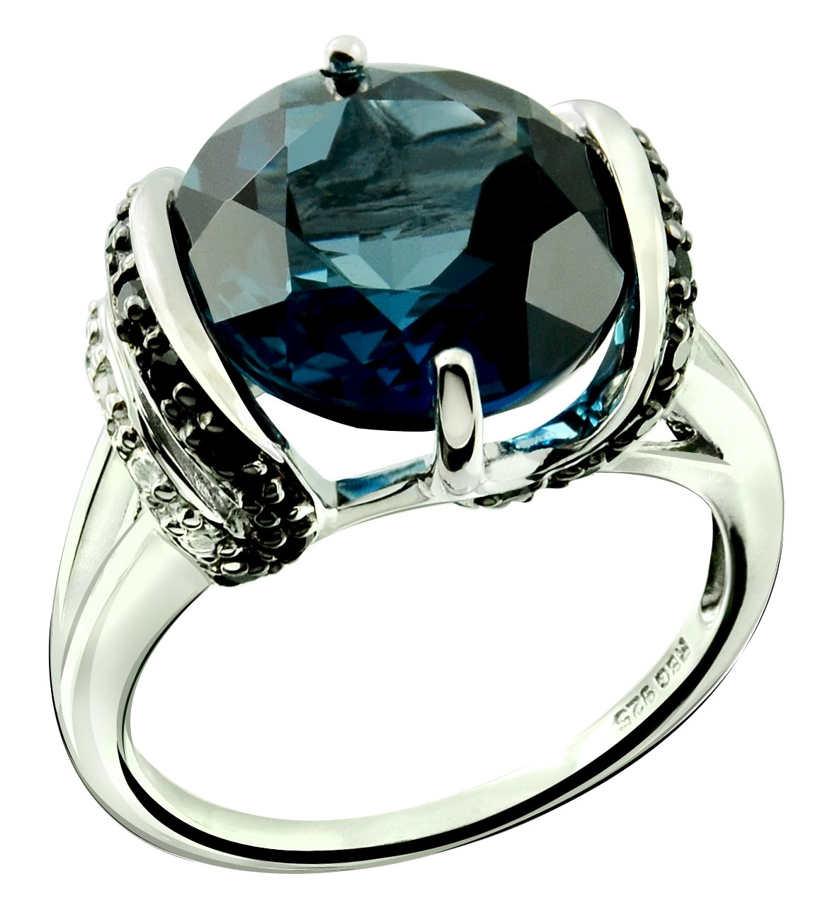 Sterling Silver 925 Ring GENUINE LONDON BLUE TOPAZ and BLACK SPINEL 8.47 Cts with RHODIUM-PLATED Finish (7)