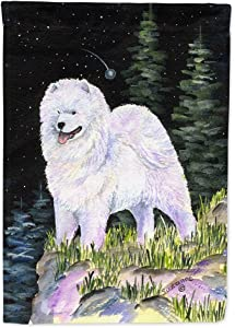 Caroline's Treasures SS8498GF Starry Night Samoyed Flag Garden Size, Small, Multicolor