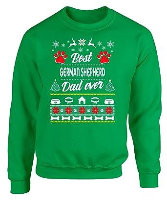 best german shepherd dad ever ugly christmas sweater style adult sweatshirt