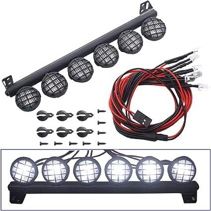Metal Roof LED Light Bar 5 Leds for 1:10 RC SCX10 D90 TRX4 Car Accessories