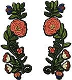 (ステキ ライフ)Suteki Life 手芸 立体刺繍 アップリケ  花のパッチ デザイン 高級感 ソーイング用 刺繍パッチ 2枚入り 19.5 * 6.5cm