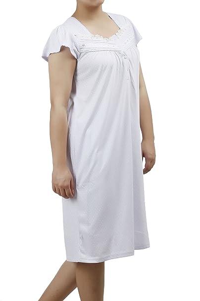 eed14269c5 Ezi Women s Nightgowns13 Cap Sleeve Cotton Nightgown at Amazon ...