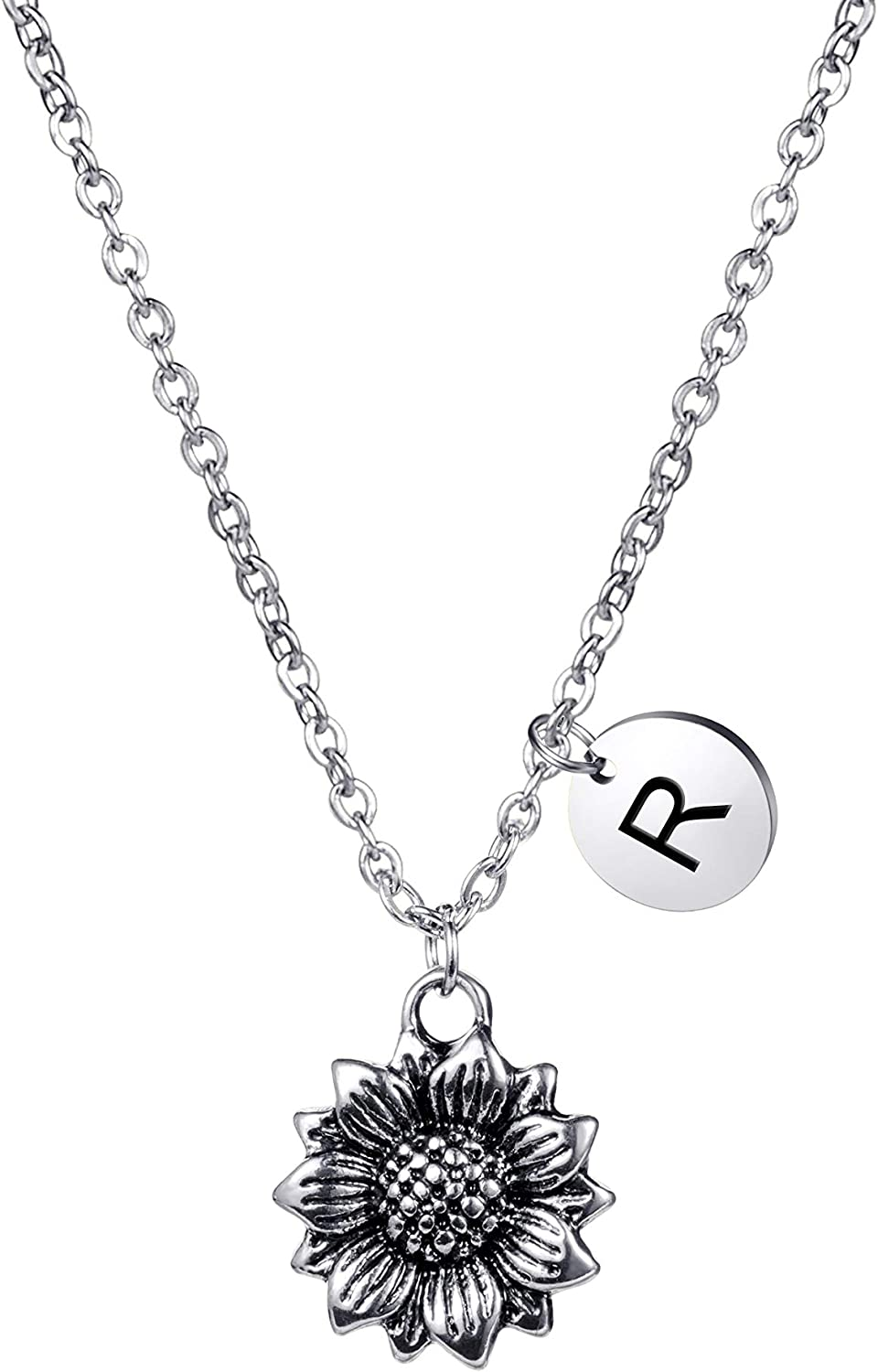 Joycuff Dainty Antique Silver Sunflower Necklace Personalized Cute Monogram Pendant Initial Charm Letter Engraved Inspirational Gifts for Her Women Teen Girl