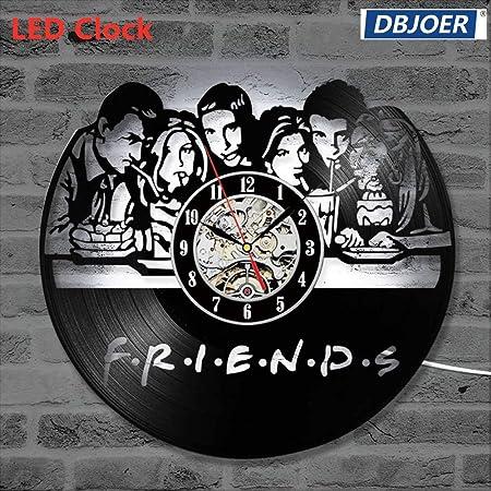 Syhua 3D Creative Friends S/érie TV CD Record Horloge Noir Creux Vinyle Record Horloge Murale Antique Style Suspendu LED Horloge D/écor /À La Maison