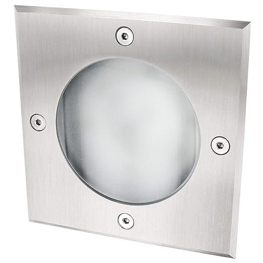 Edelstahl-Abdeckung Befahrbar bis 2000kg GX53 Edelstahl Slim Bodeneinbauleuchte eckig Aluminium-Geh/äuse IP65 wasserdicht matte Glasabdeckung