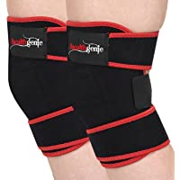 Healthgenie Adjustable Knee Support - 1 Pair with Free Size Fits Most (Black)