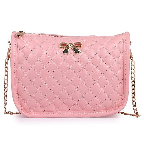 fce7637e0676 Elprine Bow Decoration Latest Design Stylish Cute Pink Sling Bag For Women  & Girls: Amazon.in: Shoes & Handbags