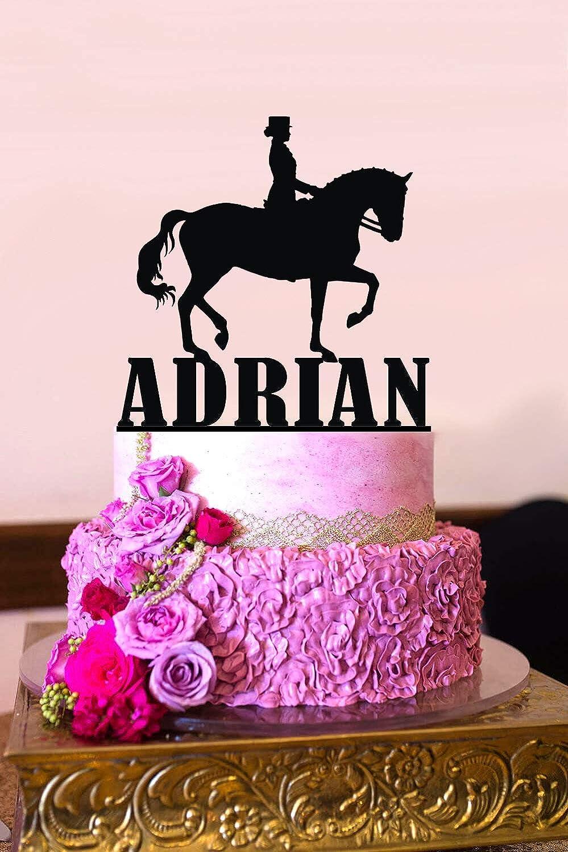 Decoración para tarta de cumpleaños personalizable, diseño de caballo de doma
