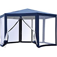 Outsunny Φ13' Hexagon Patio Gazebo Party Canopy Outdoor Events Pavilion with Fully Enclosed Netting