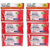 Antibacterial Resealable Wet Wipes, Small Travel Packs, 6 Count -  Pack Of 2