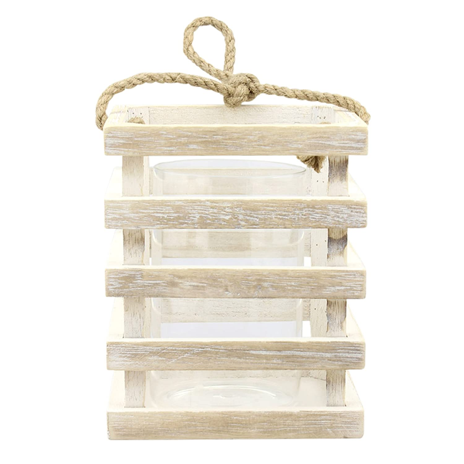 Stonebriar Worn White Wooden Beach House Candle Lantern, Coastal Home Decor, For Table Top or Hanging Display, For Indoor or Outdoor Use, Small