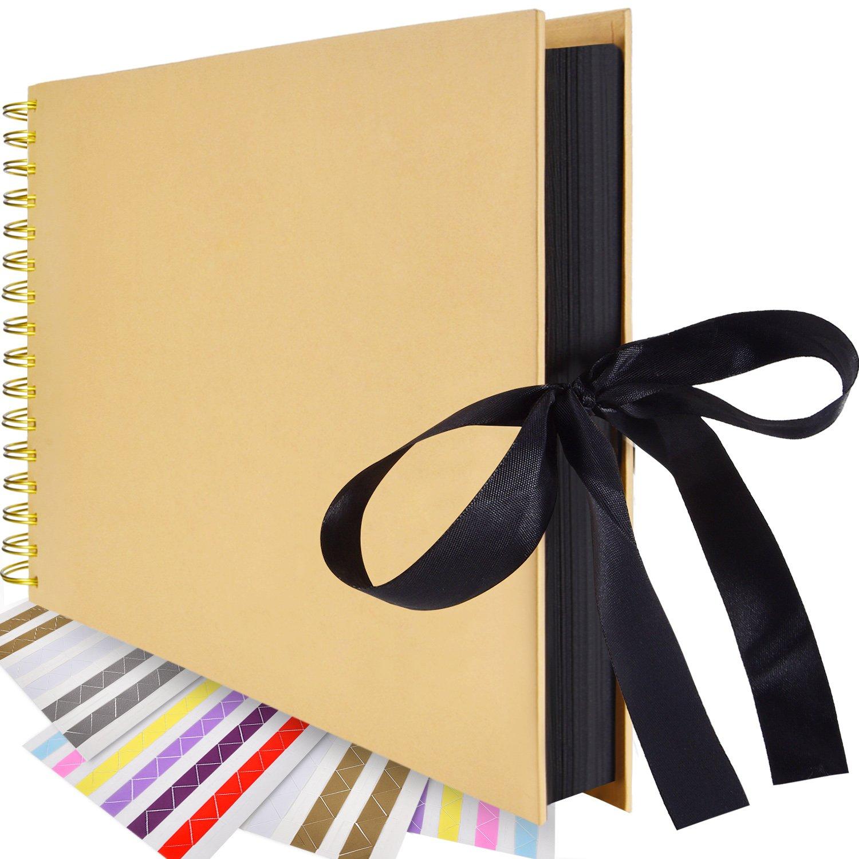 Bememo 80 Pages Scrapbook 408 Pieces Photo Corners, Photo Album Scrapbook Hardcover Book Craft Paper DIY Anniversary, Wedding