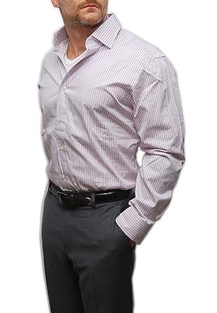 pick up buy cheap in stock RALPH LAUREN Polo Mens Regent Custom Fit Dress Shirt Pink Black Stripe