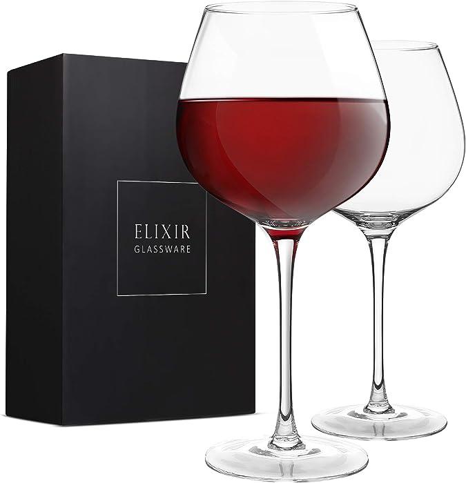 Red Wine Glasses – Large Wine Glasses, Hand Blown – Set of 2 Long Stem Wine Glasses, Premium Crystal – Gift for Wine Tasting, Wedding, Anniversary, Christmas – 22 oz, Clear