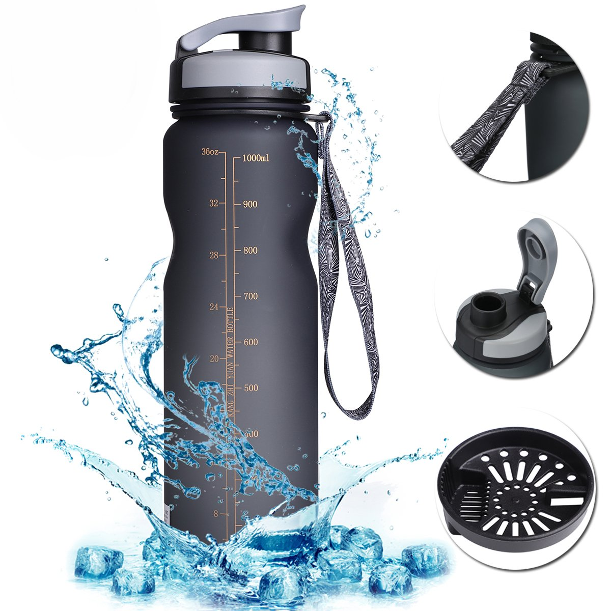 Sports Water Bottle with Filter & Strap, SOKLIT Portable BPA Free Drinking Cup 36oz/1000ml, Flip Top Leak Proof - 0.51lb Plastic Bottles for Gym Outdoor Hiking Camping (Gray)…